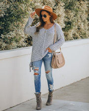 Sealed With A Bow Chunky Knit Sweater - Grey view 9