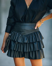 Gemstone Faux Leather Ruffle Tiered Mini Skirt - Black view 8