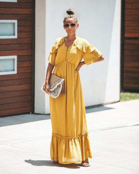 Simple Moments Swiss Dot Maxi Dress - Mustard - FINAL SALE