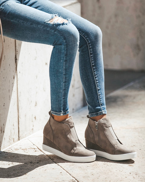 PREORDER - New In Town Faux Suede Wedge Sneaker - Taupe
