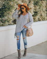 Sealed With A Bow Chunky Knit Sweater - Grey view 6
