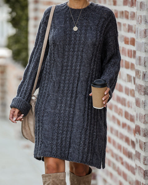 Prancer Cable Knit Sweater Dress - Charcoal - FINAL SALE