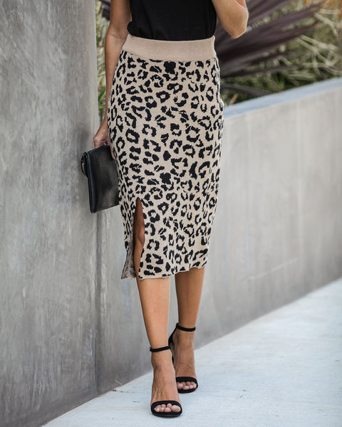 Nestle Leopard Knit Midi Skirt
