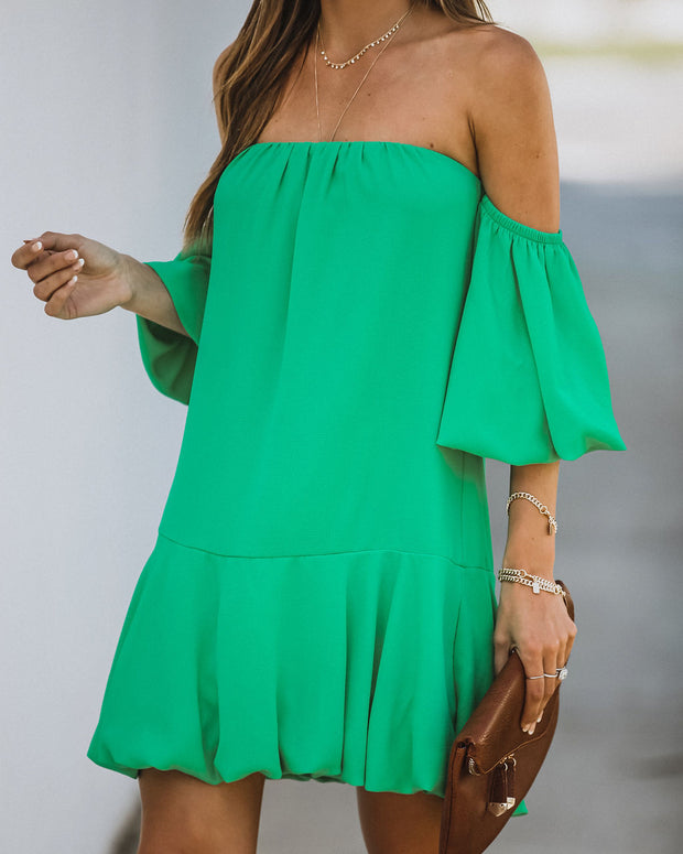 Tess Off The Shoulder Puff Sleeve Dress - Emerald