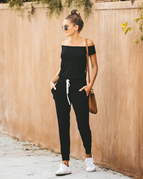 Weekend Worthy Pocketed Drawstring Jumpsuit - Black