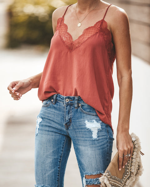 Delicate Balance Lace Cami Tank - Clay