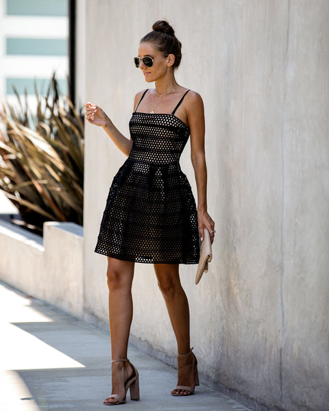 Lucky For You Mesh Overlay Dress - Black - FINAL SALE