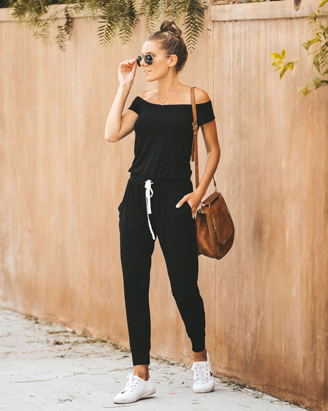 PREORDER - Weekend Worthy Pocketed Drawstring Jumpsuit - Black