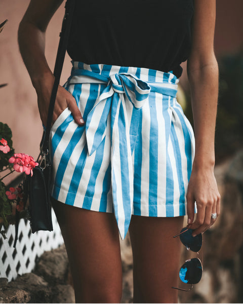Soirée Striped Pocketed Tie Shorts - Blue