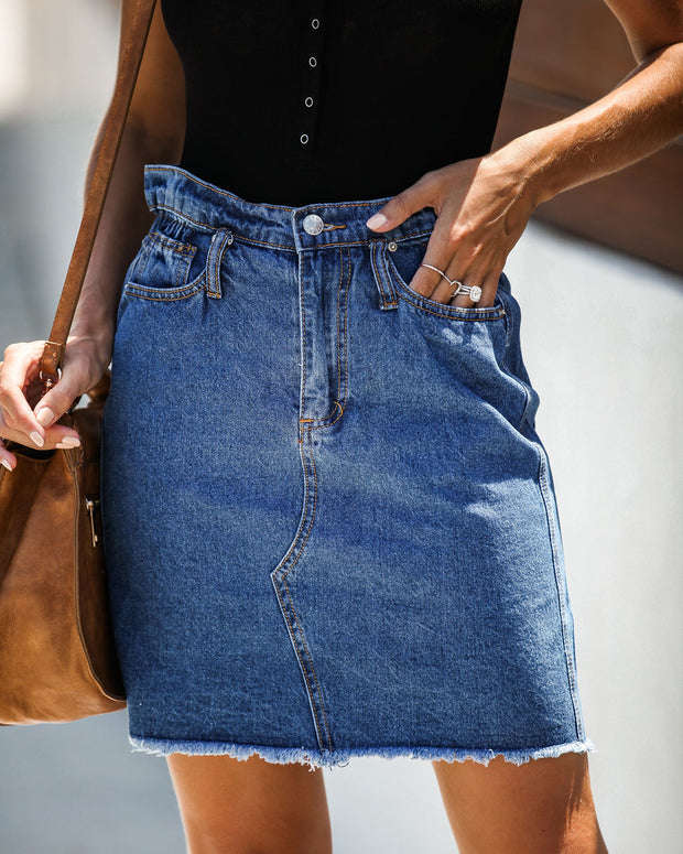 The Deep End Pocketed Denim Skirt - Dark Wash - FINAL SALE view 2