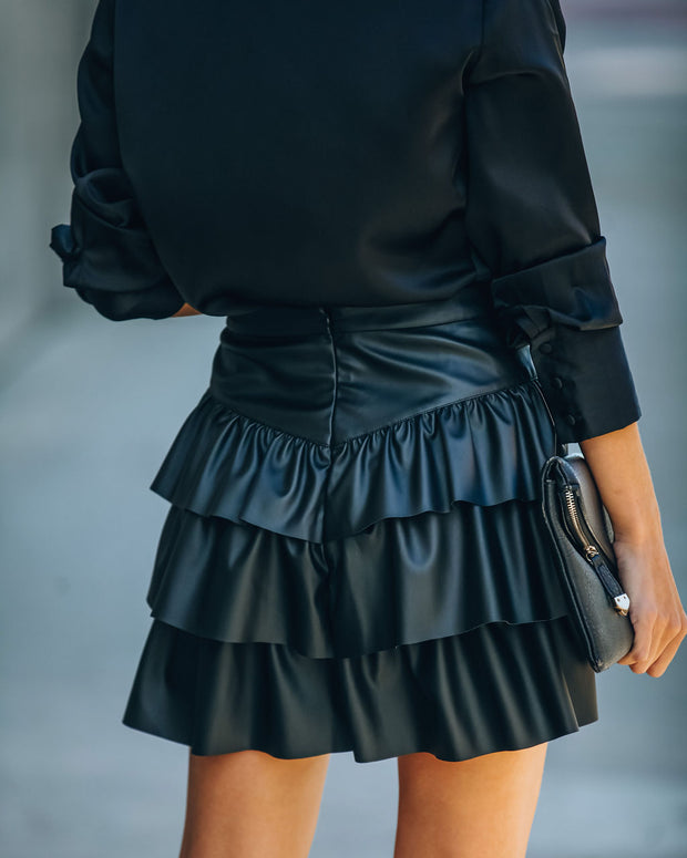 Gemstone Faux Leather Ruffle Tiered Mini Skirt - Black view 2