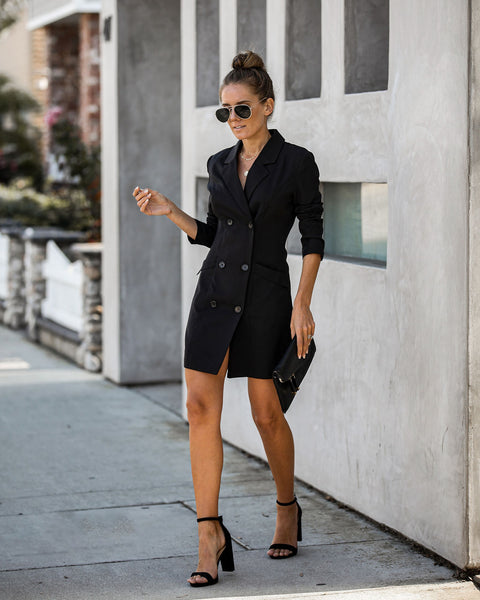 She's Sleek Pocketed Blazer Mini Dress