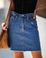 The Deep End Pocketed Denim Skirt - Dark Wash - FINAL SALE view 4