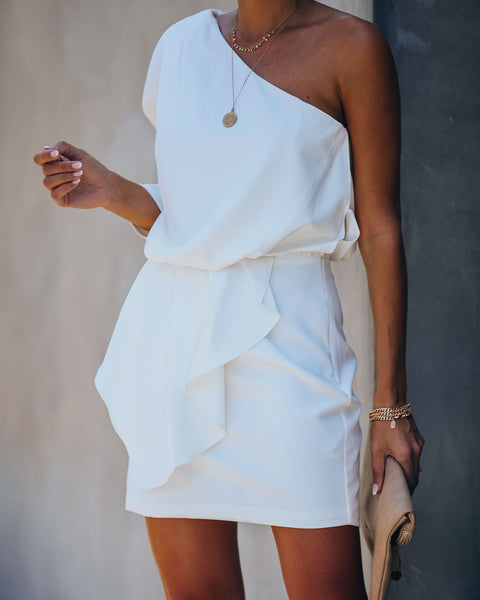 Elite One Shoulder Ruffle Dress - White