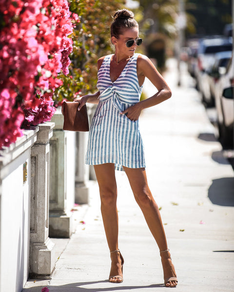 Knot-ical Striped Pocketed Linen Dress