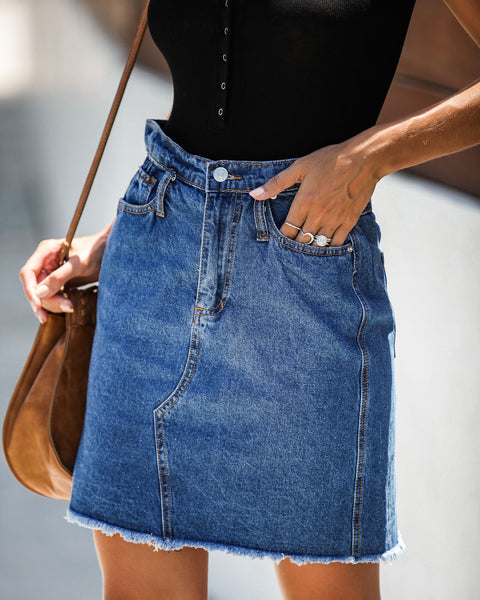 The Deep End Pocketed Denim Skirt - Dark Wash