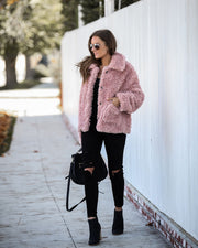 Tiara Pocketed Faux Fur Button Down Coat - FINAL SALE