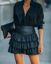 Gemstone Faux Leather Ruffle Tiered Mini Skirt - Black view 1