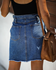 The Deep End Pocketed Denim Skirt - Dark Wash - FINAL SALE view 5