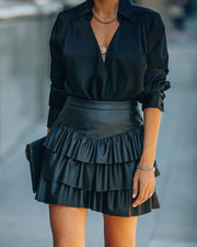Gemstone Faux Leather Ruffle Tiered Mini Skirt - Black view 3
