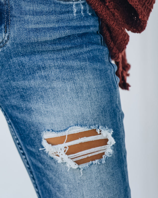 Tempo Distressed High Rise Straight Leg Denim