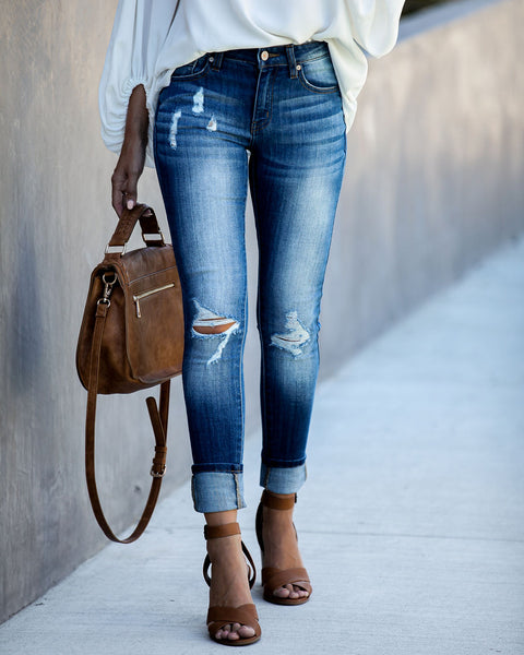 Sisterhood Distressed Mid Rise Skinny