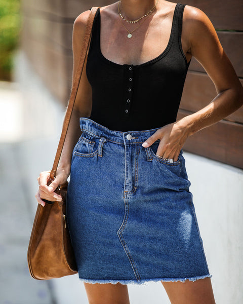 The Deep End Pocketed Denim Skirt - Dark Wash - FINAL SALE