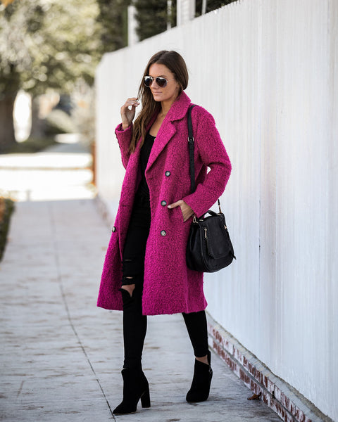 Strike Me Pink Pocketed Double Breasted Coat