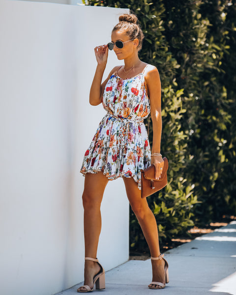 Better Than Ever Floral Rope Tie Mini Dress