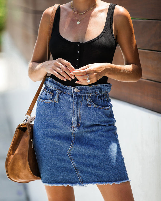 The Deep End Pocketed Denim Skirt - Dark Wash - FINAL SALE view 8