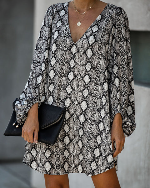 End Up With You Balloon Sleeve Snake Print Tunic
