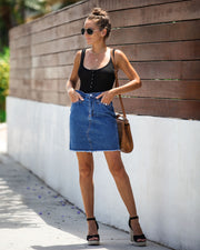 The Deep End Pocketed Denim Skirt - Dark Wash - FINAL SALE view 9
