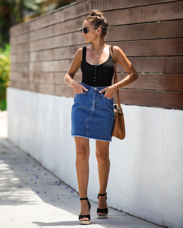 The Deep End Pocketed Denim Skirt - Dark Wash - FINAL SALE view 10