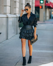 Gemstone Faux Leather Ruffle Tiered Mini Skirt - Black view 9