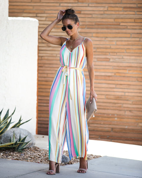 All That Jazz Striped Pocketed Tie Jumpsuit - FINAL SALE