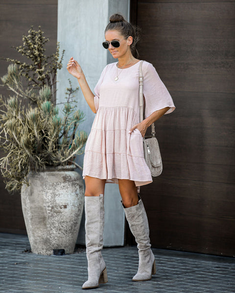 Little Something Tiered Pocketed Tunic - Powder