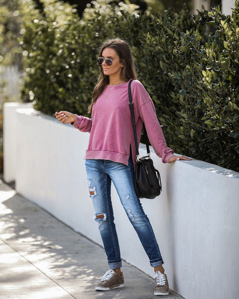 Dive Deep Cotton Sweatshirt - Magenta - FINAL SALE