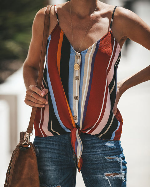 Lindie Button Down Tie Tank