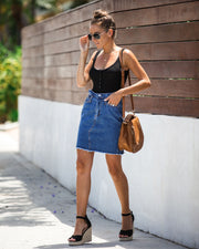 The Deep End Pocketed Denim Skirt - Dark Wash - FINAL SALE view 11