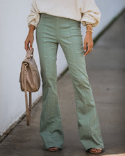 Socal High Rise Bell Bottom Denim Pants - Seafoam