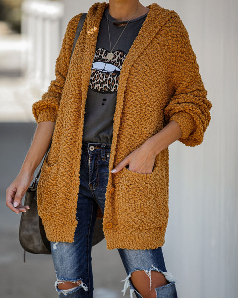 Just For Fun Pocketed Hooded Cardigan - Golden Mustard