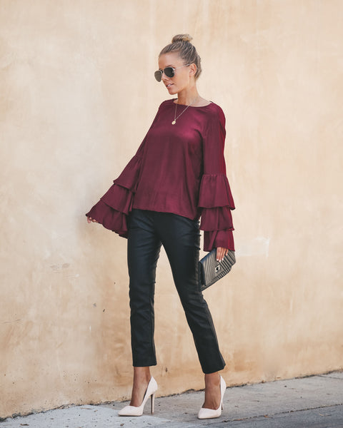 Free Rein Satin Bell Sleeve Blouse - Berry