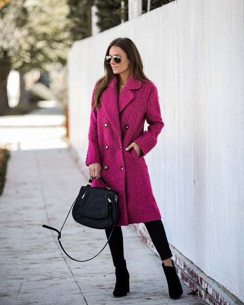Strike Me Pink Pocketed Double Breasted Coat - FINAL SALE