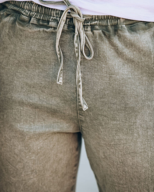 Artiste Cotton Pocketed Cargo Joggers - Washed Olive