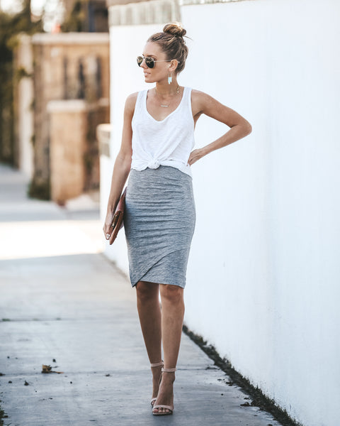 933e8bc8ca Stuck On You Cotton + Modal Pencil Skirt - Grey