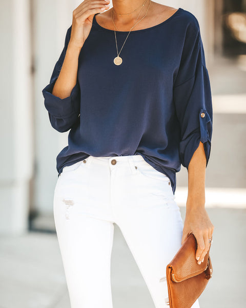 Take Note Blouse - Navy- FINAL SALE