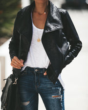 Slick Chick Coated Faux Leather Moto Jacket - Black