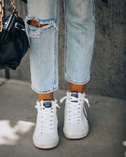 In The Crowd Studded High-Top Sneaker - White