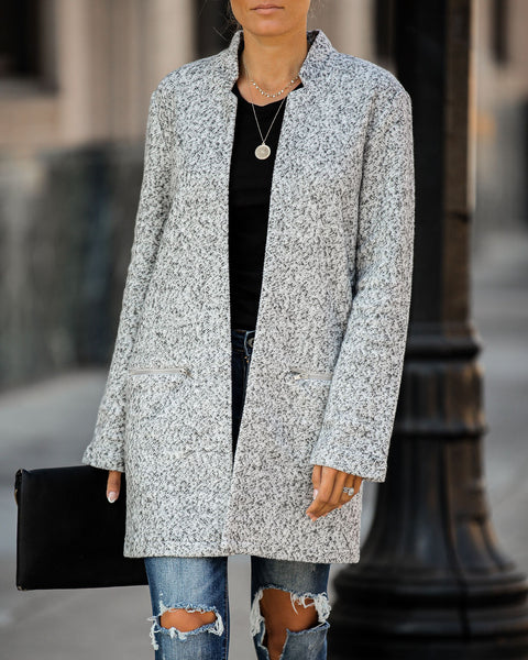 Catalog Pocketed Coat - Speckled Grey