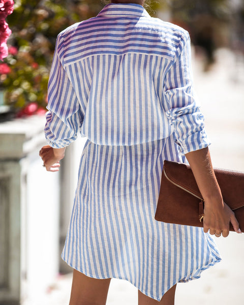 Hit The Sea Striped Cotton Pocketed Dress